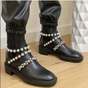 Zara pearl strap heeled leather ankle boots